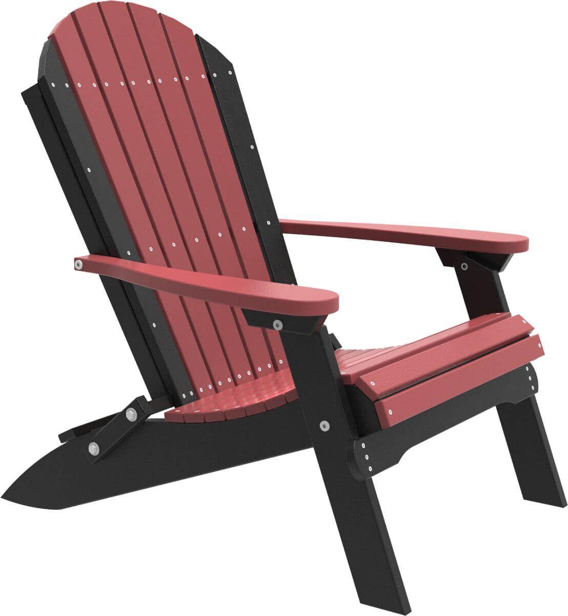 Cherrywood and Black Tahiti Folding Adirondack Chair