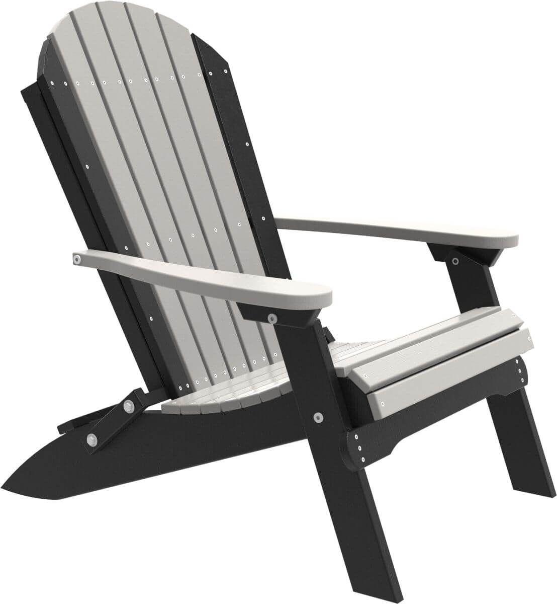 Dove Gray and Black Tahiti Folding Adirondack Chair