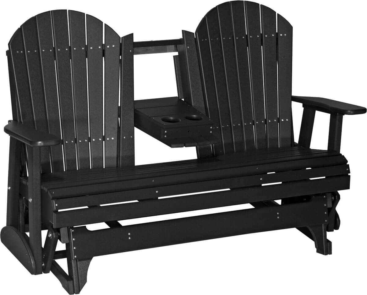 Black Tahiti Loveseat Patio Glider with Console