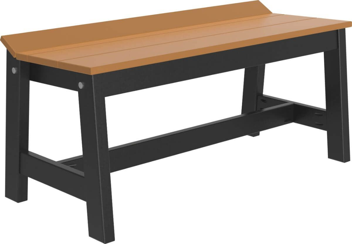 Cedar and Black Stockton Outdoor Dining Bench