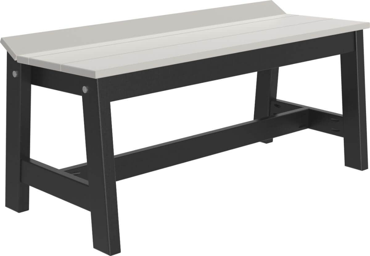 Dove Gray and Black Stockton Outdoor Dining Bench