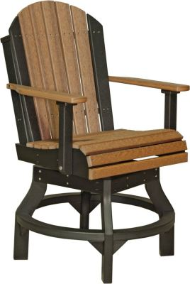 Antique Mahogany and Black Tahiti Outdoor Swivel Bar Chair