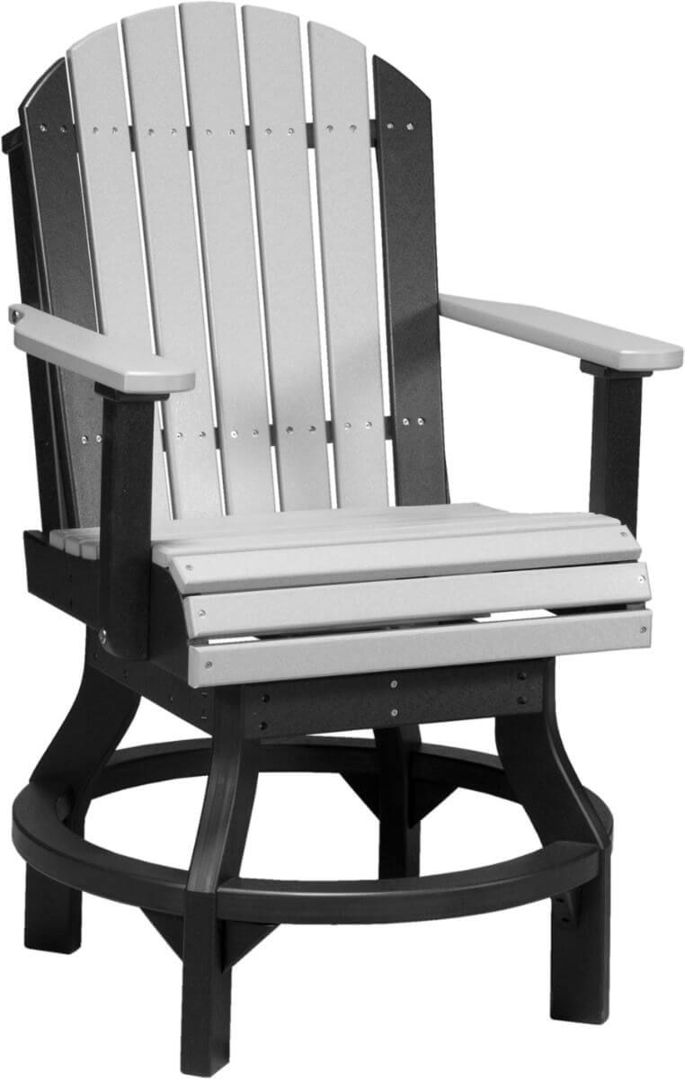 Dove Gray and Black Tahiti Outdoor Swivel Bar Chair
