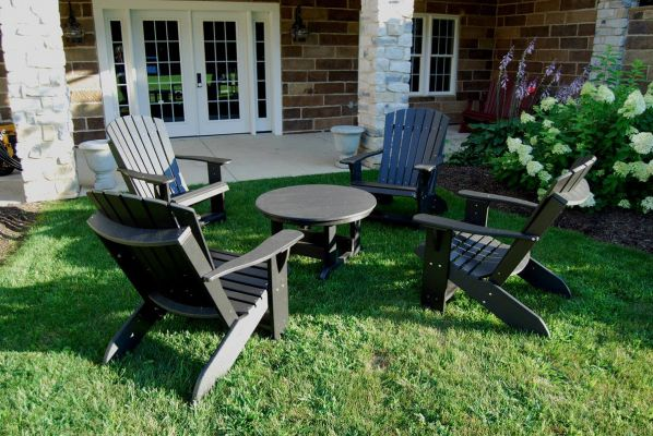 Pictured with the Sidra Adirondack Chairs in Black