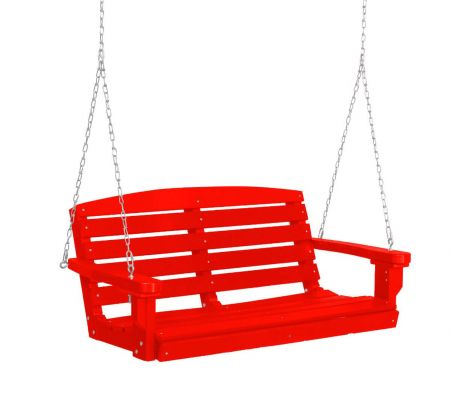 Bright Red Green Bay Porch Swing