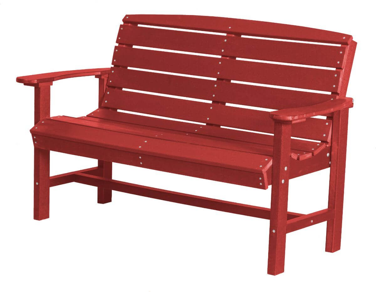 Bright Red Green Bay Outdoor Bench