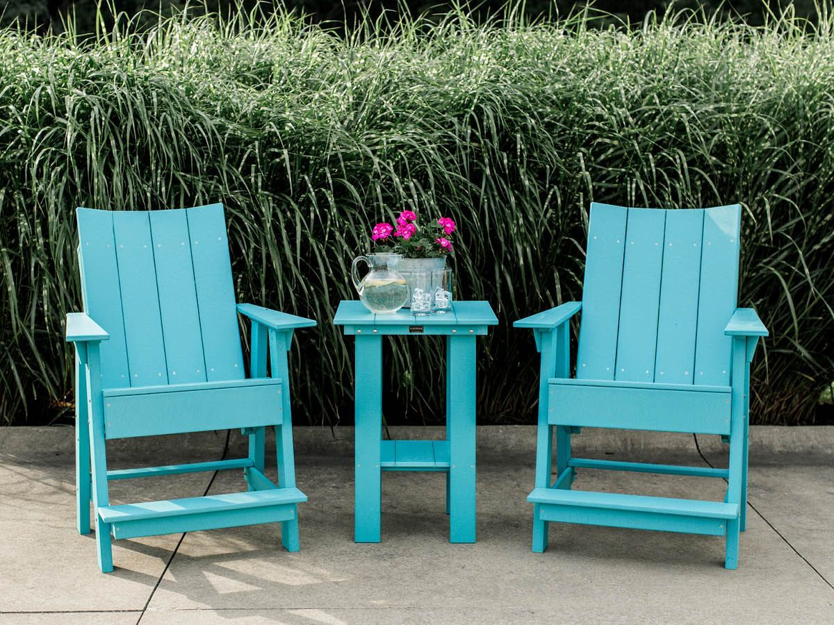 Mindelo Outdoor Adirondack Chairs and Balcony Table