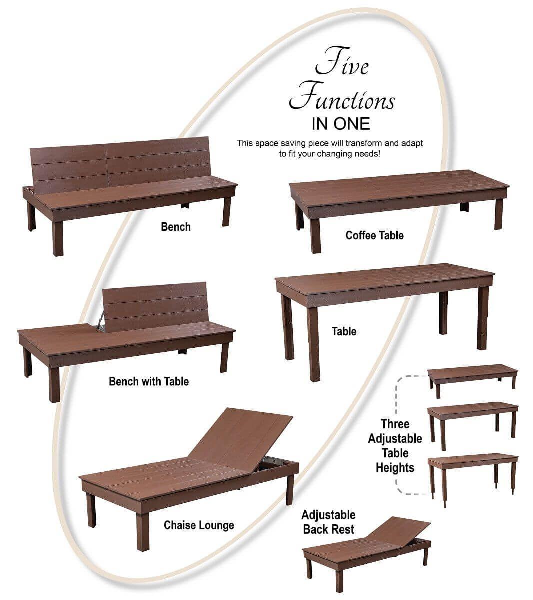 Versatile Outdoor Poly Bench