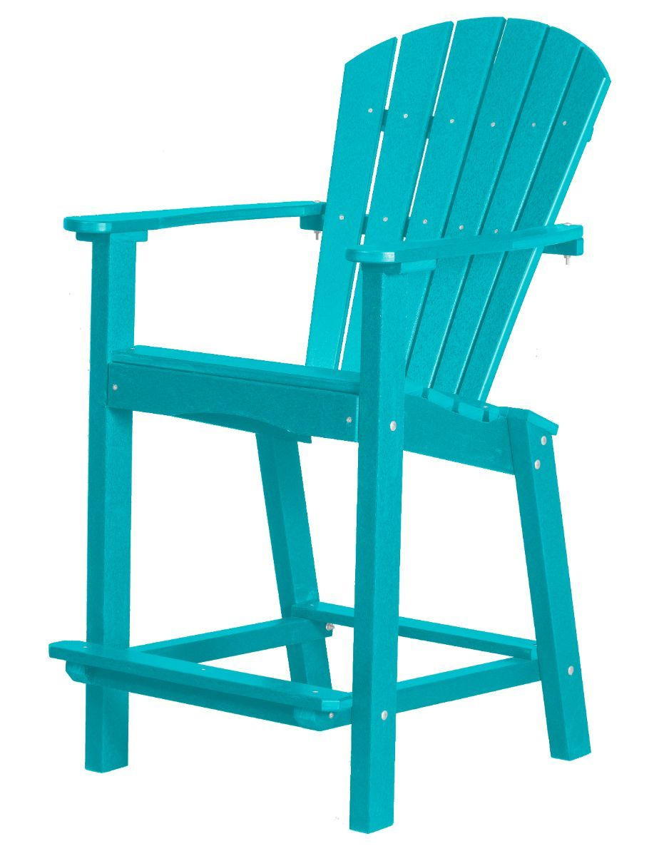Aruba Blue Panama High Outdoor Dining Chair