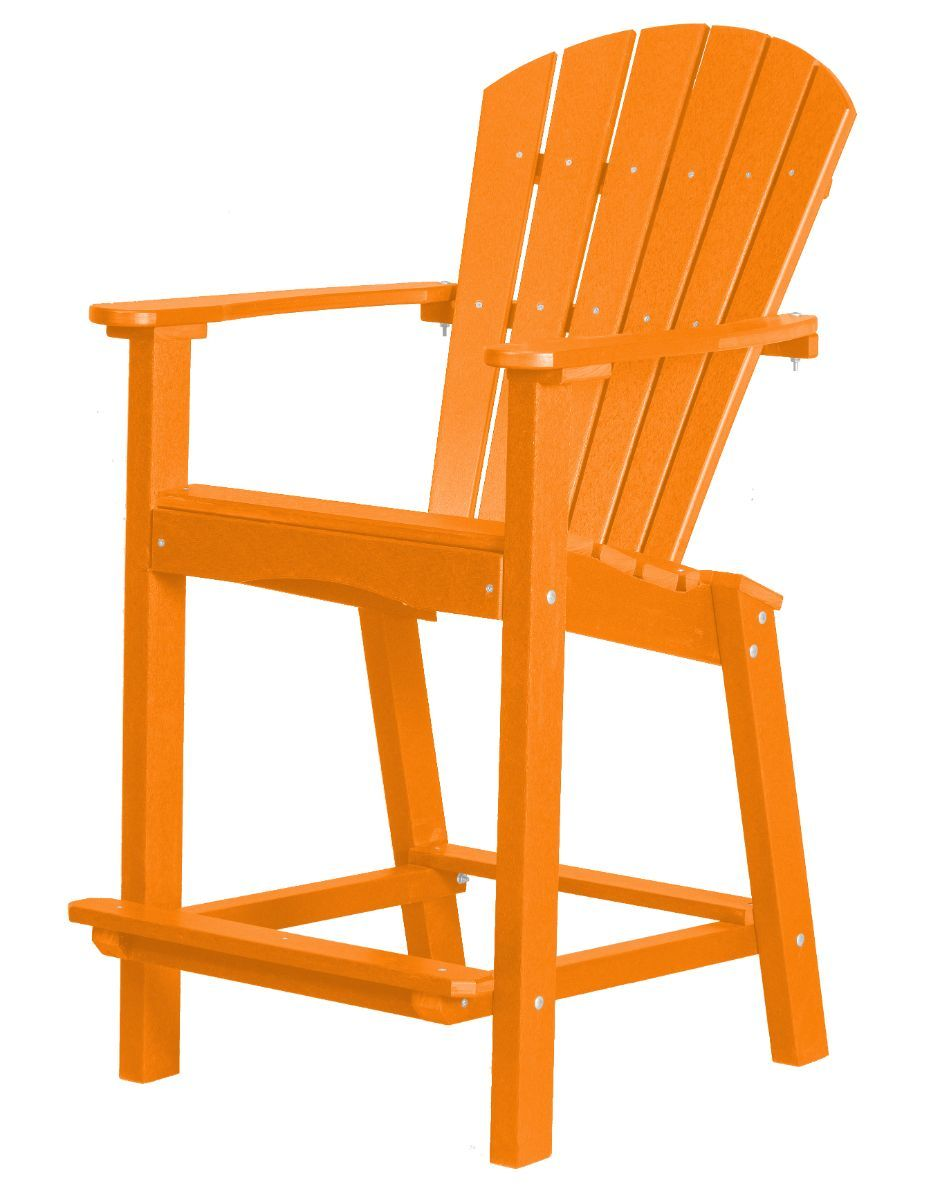 Bright Orange Panama High Outdoor Dining Chair