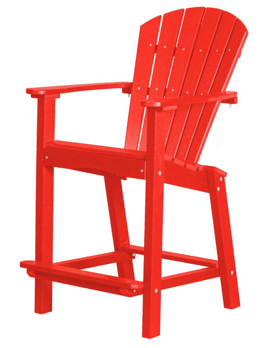 Bright Red Panama High Outdoor Dining Chair