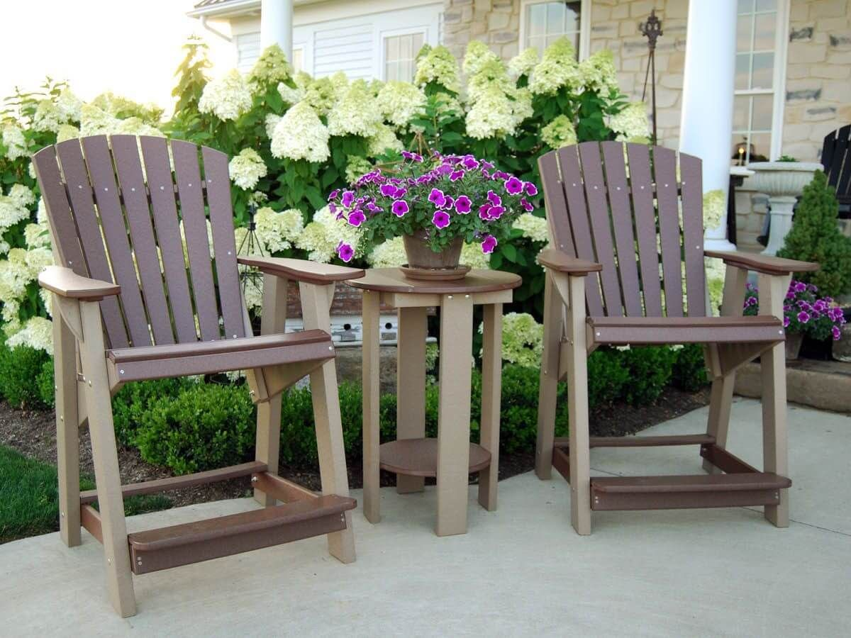 Sidra High Adirondack Chairs and Balcony Table