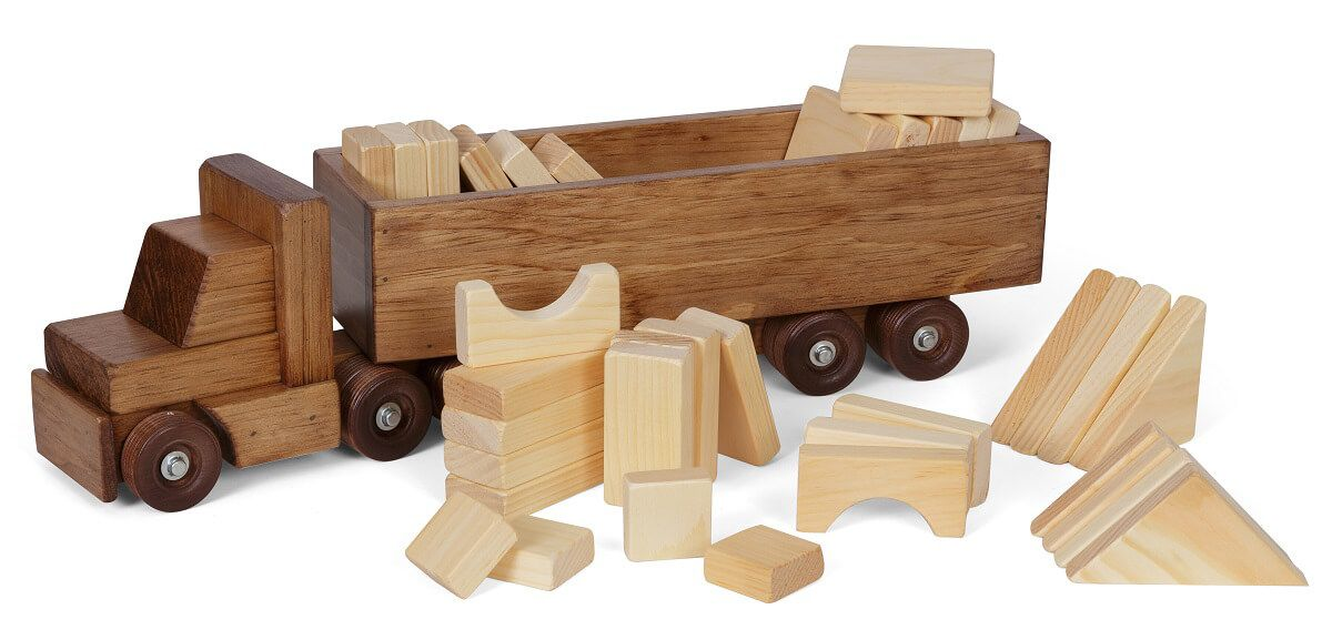 Amish Made Toy Truck with Blocks