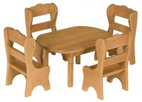Wooden Doll Dining Table and Chairs
