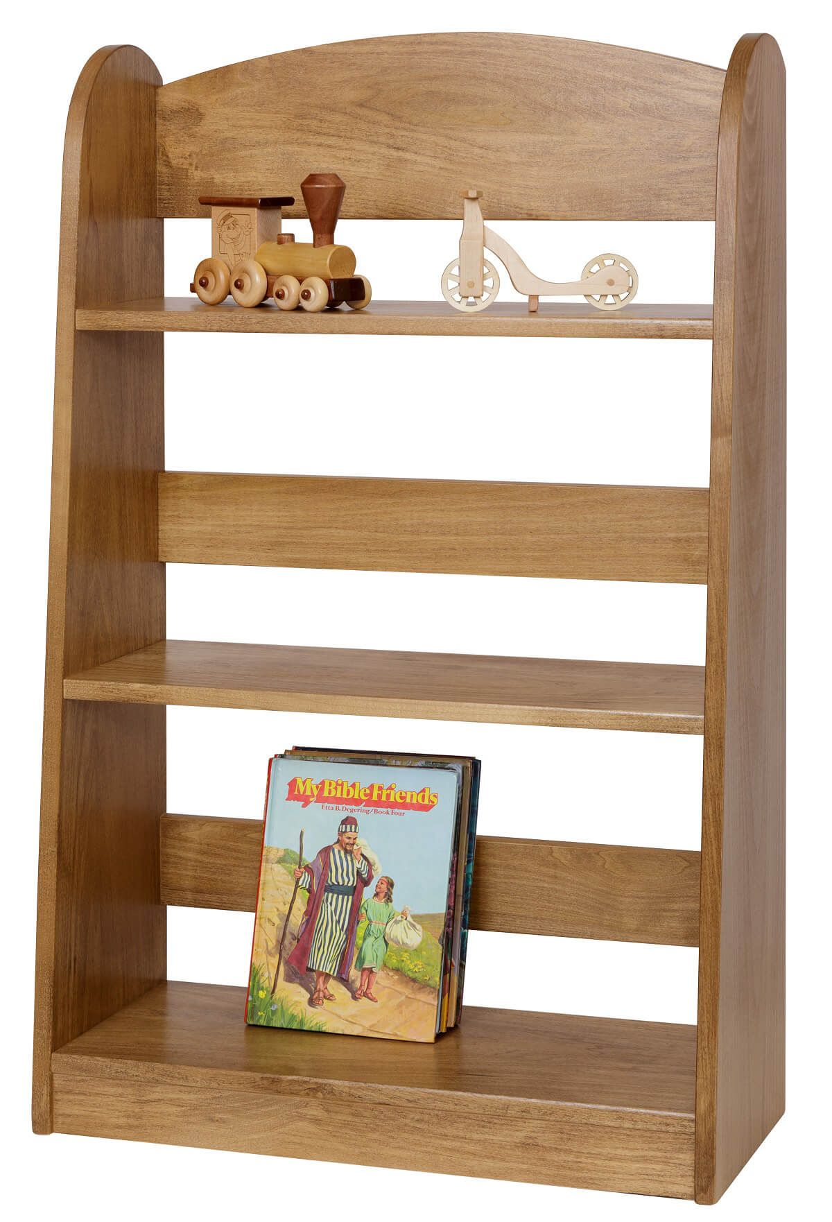 Stained Wooden Bookcase for Kids