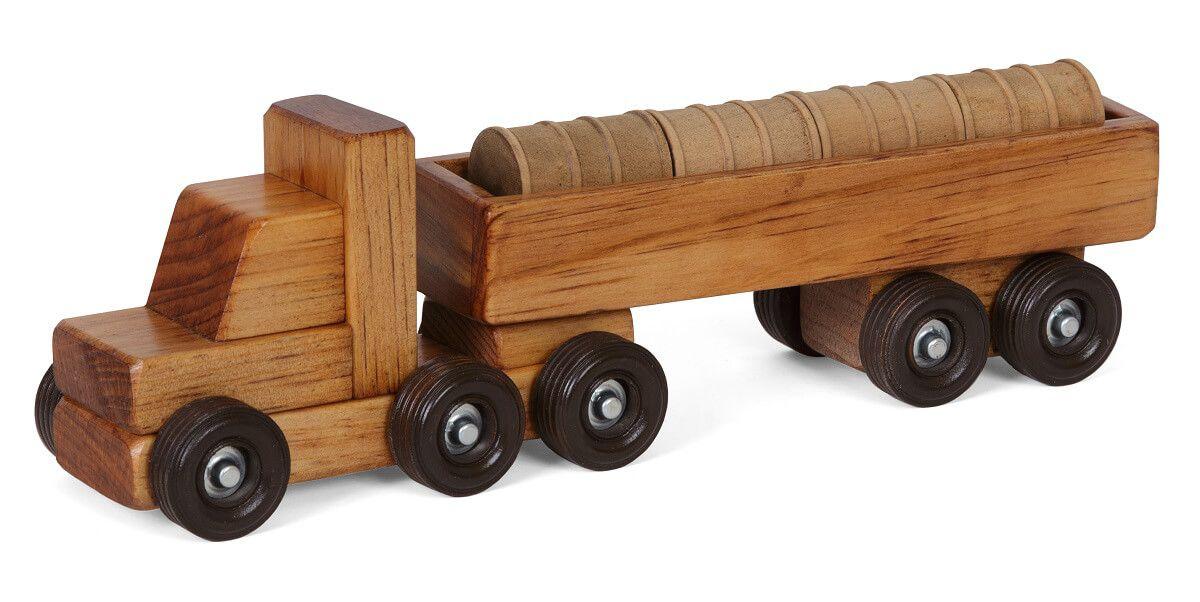 Wooden Toy Barrel Truck
