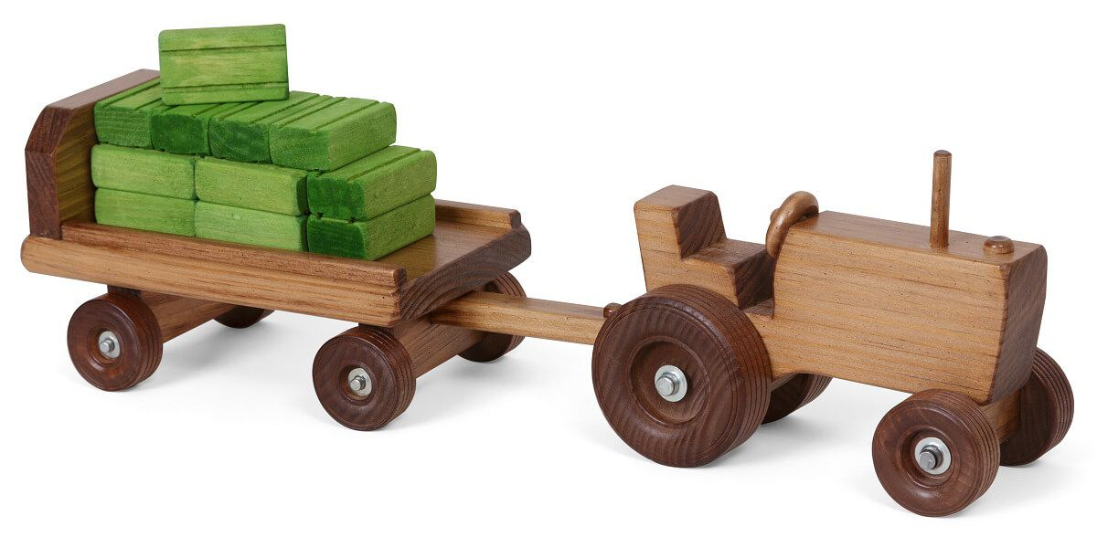 Wooden Tractor and Wagon Toy