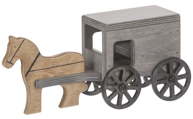 Gray Stained Amish Buggy Toy