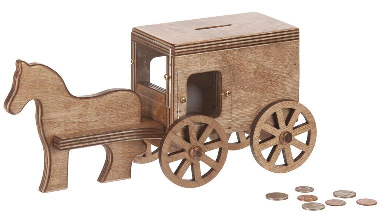 Amish Wooden Horse and Buggy Bank