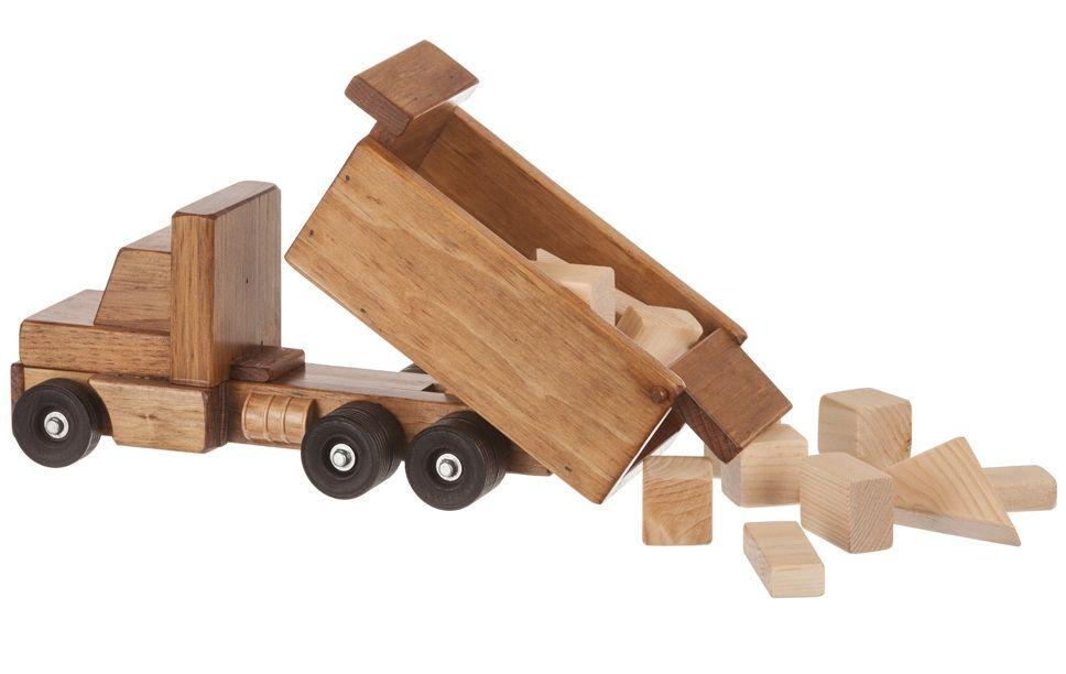Wooden Dump Truck with Blocks
