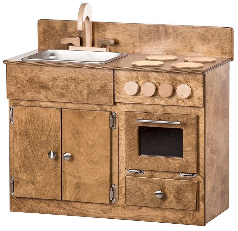 Stained Kid's Sink and Stove Kitchen Playset
