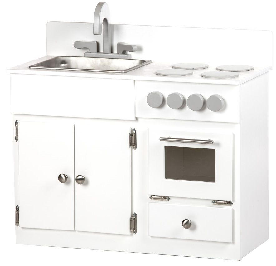 Painted Kid's Sink and Stove Kitchen Playset