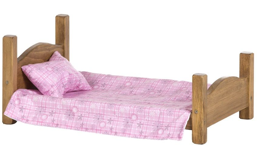 American Made Wooden Doll Bed in Harvest stain
