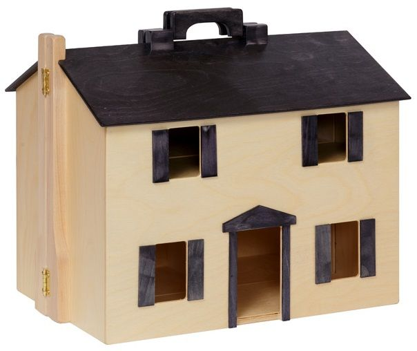 Unfinished Wooden Folding Doll House with Furniture