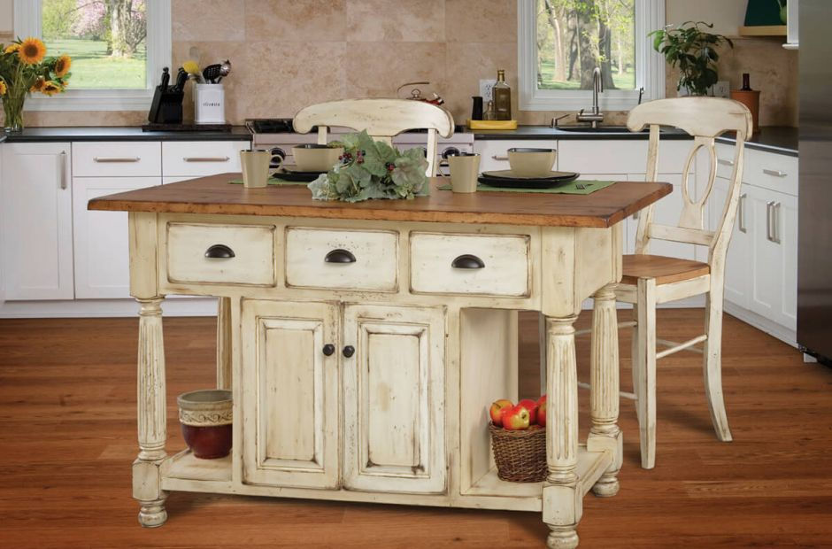 Louvre Two Tone Kitchen Island Set - Countryside Amish ...