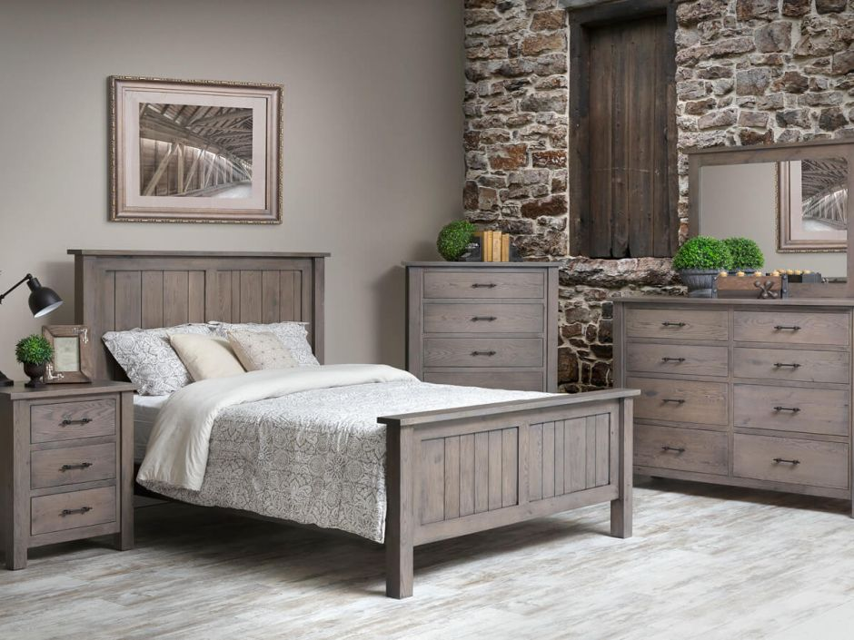 Gray american made bedroom furniture countryside amish for Gray bedroom furniture sets