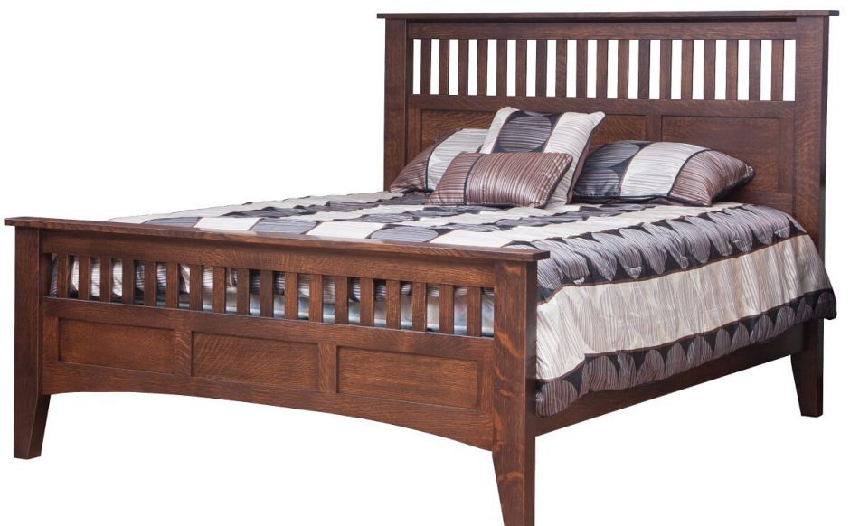 Wood Bed Style : Amish Bridgeport Antique Mission Bed
