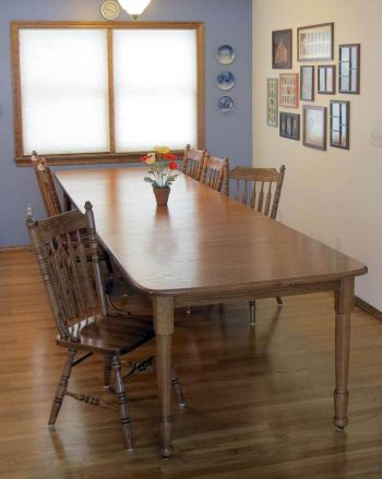 Harvest Dining Table And Acorn Pressback Chairs Expanded, In Oak