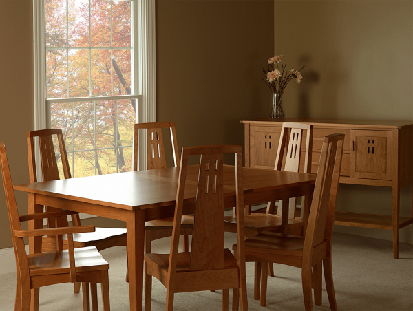 Above: Eastwood Dining Set In Traditional Cherry With Sanibel Stain.