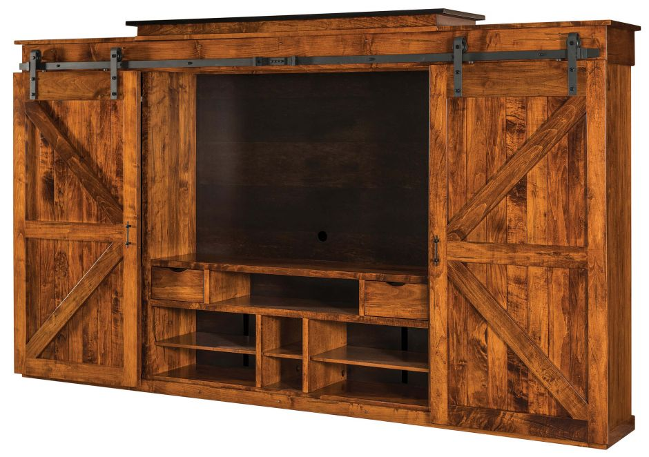 Rustic Barn Door Entertainment Center Open Angled View