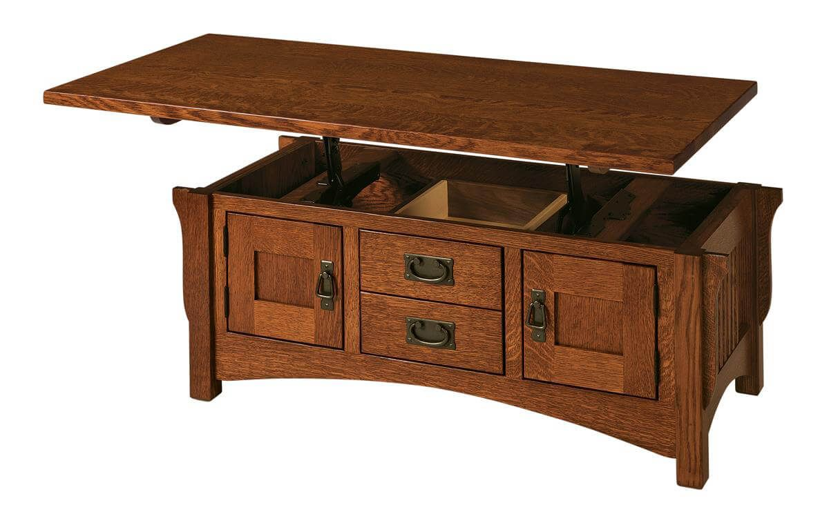 Roosevelt mission lift top coffee table countryside amish furniture Lifting top coffee table
