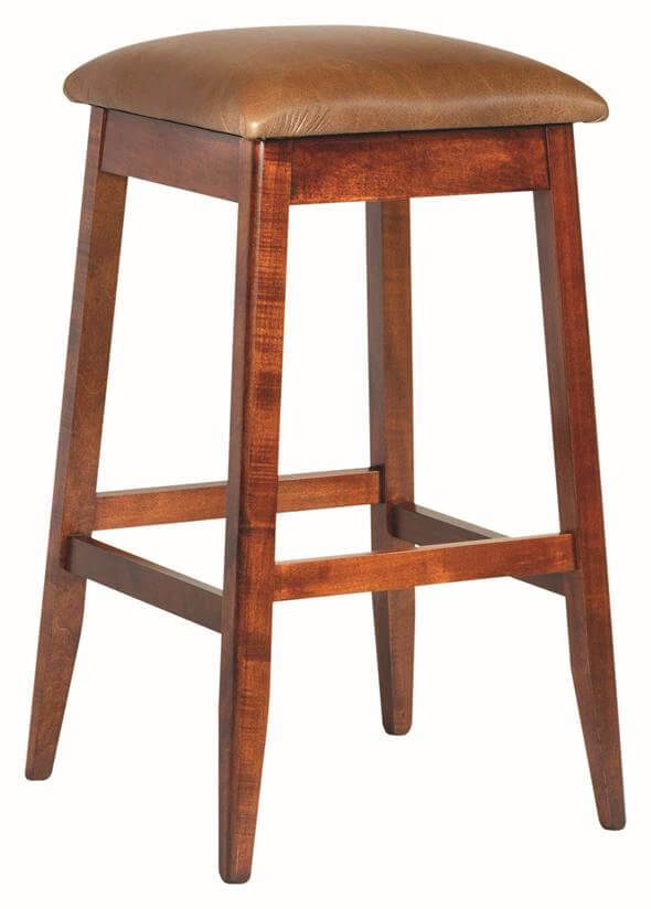 Hancock Bar Stool shown in brown maple with a leather seat