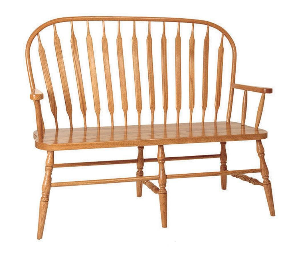Solid Oak Harrison Paddle Back Bench