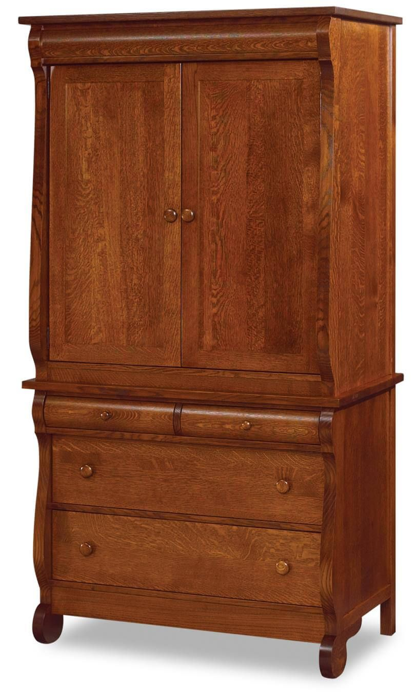 Victoria sleigh closet armoire countryside amish furniture