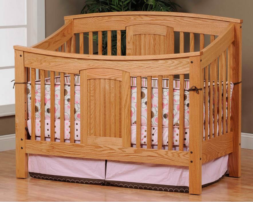 Denbigh Slat Crib in Oak with our Sanibel stain