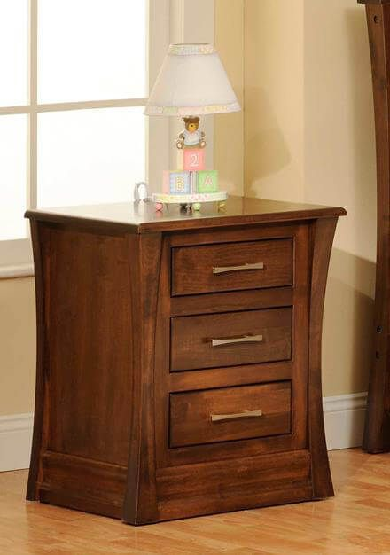 Rosewood Nightstand in Brown Maple with Mulberry Velours finish.