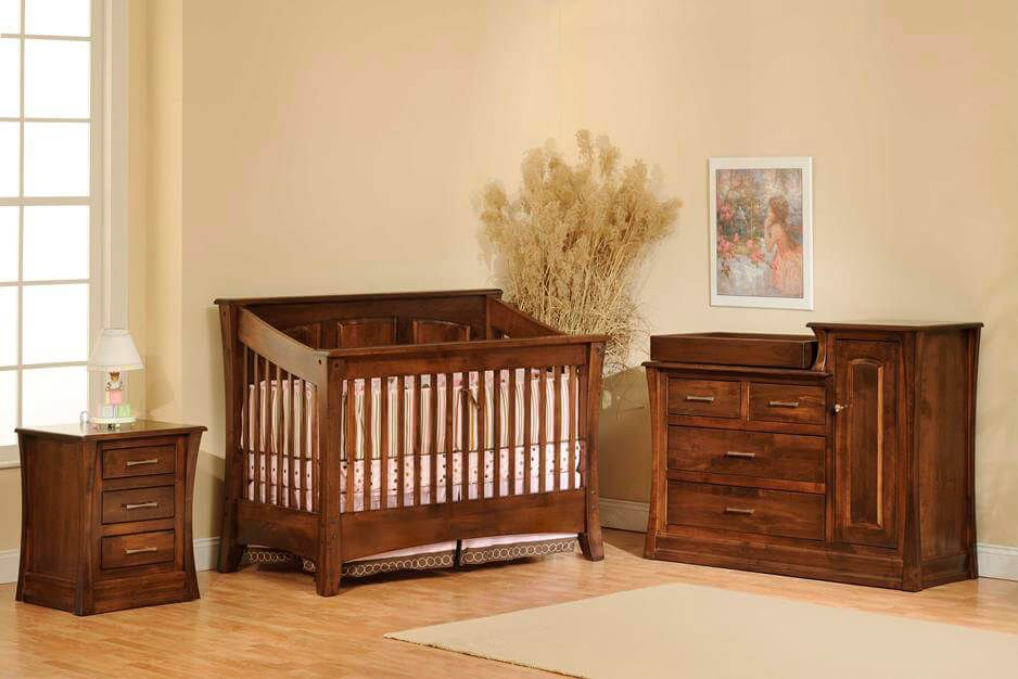 Rosewood Panel Crib Nursery Collection in Brown Maple with Venezuelan Chocolate stain