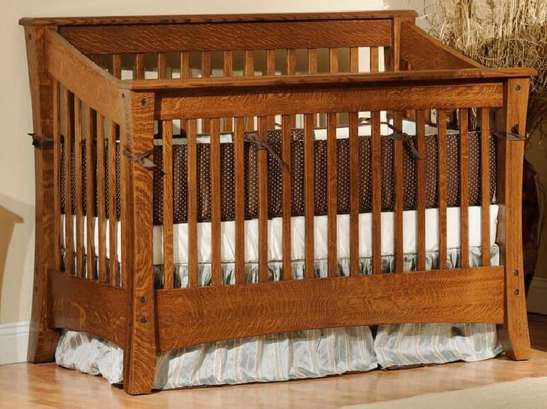 Rosewood Slat Crib shown in Brown Maple with Devonshire finish.