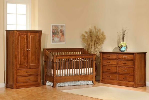 Rosewood Slat Crib Collection in Brown Maple