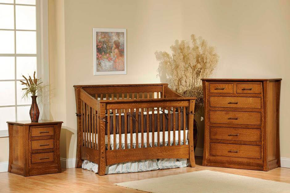Rosewood Nursery Set in Quartersawn White Oak with Burnished Honey