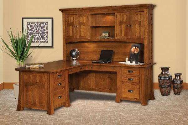 Queen Anne Desk >> Mission Canyon Executive L-Desk with Hutch - Countryside Amish Furniture