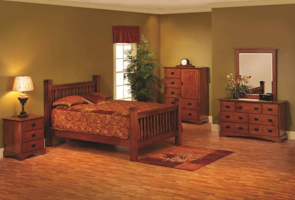 The Mission Canyon Bedroom Furniture Set Is Pictured In A Combination Of Quartersawn White Oak With Medium Finish Color