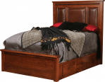 This Wyndham bed features a leather upholstered headboard and six drawers.
