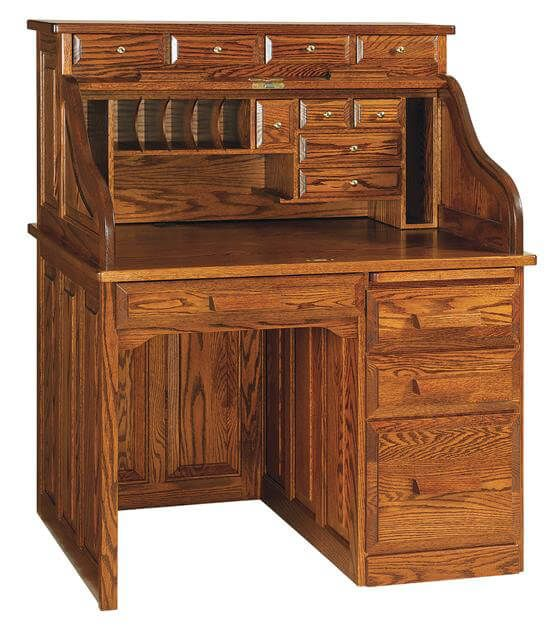 Scholar's Roll Top Desk shown in Oak