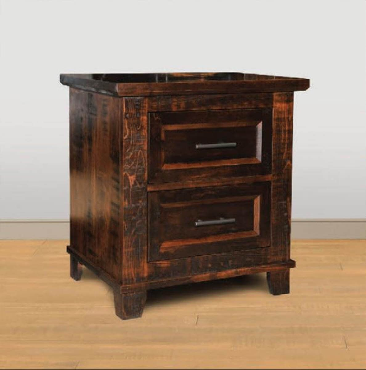 Two-Drawer Rustic Bedside Table
