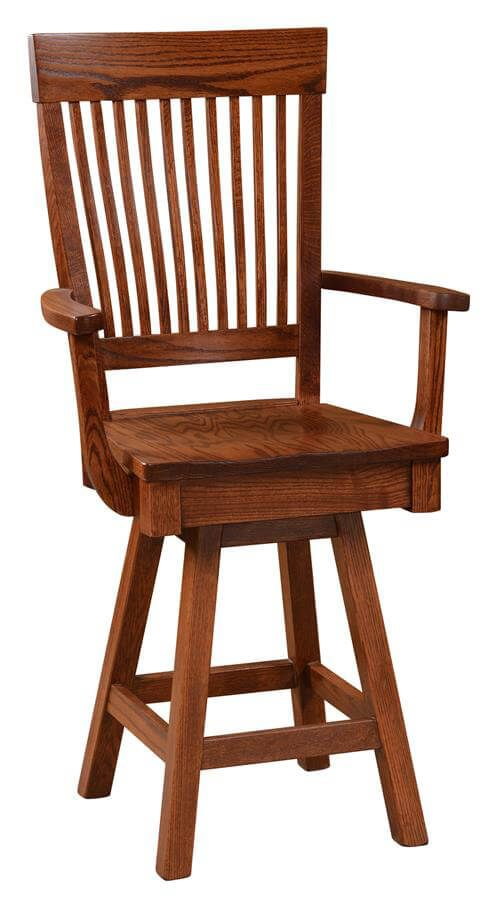 Tallahassee Swivel Barstool in solid Oak
